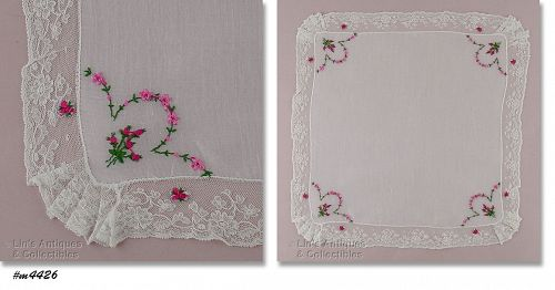 PINK ROSEBUDS AND FLOWERS WEDDING HANDKERCHIEF