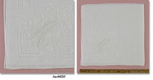 WHITE WEDDING HANKY WITH MONOGRAM �A�