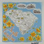 STATE SOUVENIR HANDKERCHIEF, SOUTH CAROLINA
