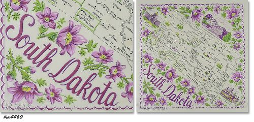 STATE SOUVENIR HANDKERCHIEF, SOUTH DAKOTA
