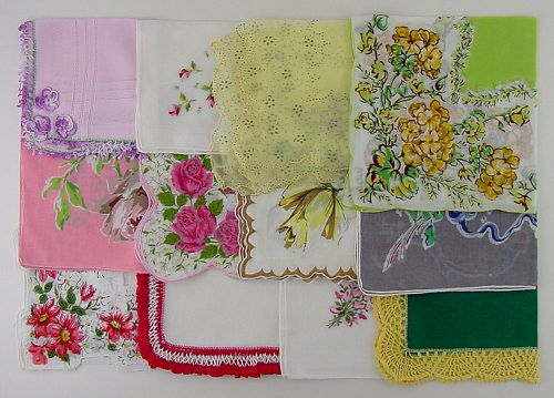 LOT OF ONE DOZEN ASSORTED VINTAGE HANKIES HANDKERCHIEFS
