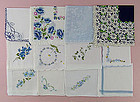 LOT OF 1 DOZEN BLUE THEME VINTAGE HANKIES HANDKERCHIEFS