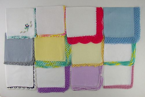 LOT OF 1 DOZEN VINTAGE ASSORTED HANKIES HANDKERCHIEFS