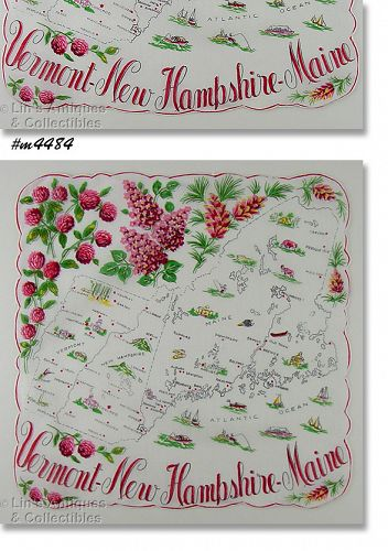 STATE SOUVENIR HANKY FOR VERMONT, NEW HAMPSHIRE, MAINE