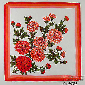 ORANGE ASTERS OR MUMS LINEN HANDKERCHIEF