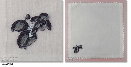 WHITE HANKY WITH EMBROIDERED BLACK AND GRAY POODLE