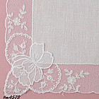 WHITE WEDDING HANDKERCHIEF WITH ATTACHED ORCHIDS