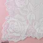 PALE LILAC COLOR HANDKERCHIEF WITH SHADOW WORK ROSES