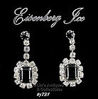 EISENBERG ICE � BLACK AND CLEAR RHINESTONE EARRINGS