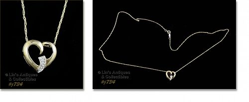 10KT YELLOW GOLD HEART PENDANT WITH SINGLE DIAMOND