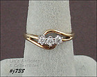 3 DIAMOND 10KT YELLOW GOLD RING SIZE 7