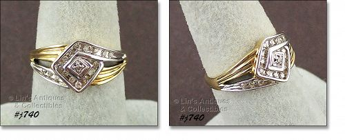 10KT YELLOW GOLD WITH DIAMONDS RING SIZE 6 ¾