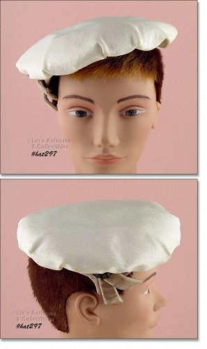 VINTAGE WHITE BERET STYLE HAT BY DEJONGS OF EVANSVILLE