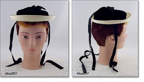 VINTAGE CHILD�S WHITE HAT WITH BLACK VELVET CROWN AND RIBBONS