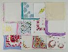 Lot of 1 Dozen Assorted Vintage Hankies Handkerchiefs