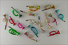 Lot of 16 Vintage Glass Horn Musical Instruments Shaped Ornaments