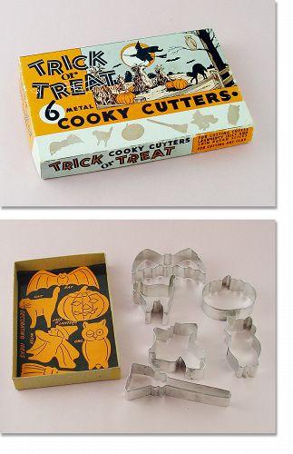 6 Halloween Trick or Treat Metal Cooky Cutters in Original Box