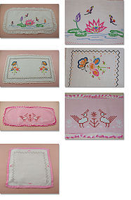 4 Embroidered or Cross Stitched Vintage Dresser Scarves / Doilies