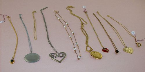 Large Lot Group of 19 Vintage Pendants and/or Chains