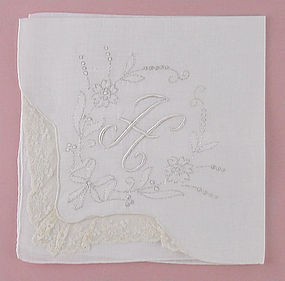 Beautiful Vintage White Monogram H Madeira White Handkerchief Hanky