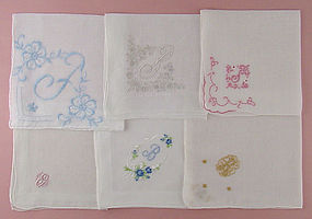 Choice of Vintage Monogram Handkerchiefs Hankies