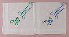 Lot Set of 2 �M� Monogrammed Vintage Handkerchiefs Hankies