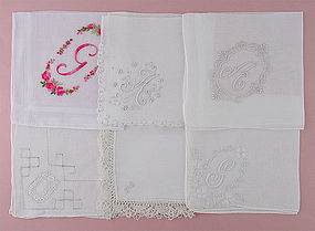 Choice of Vintage Monogram Handkerchiefs Hankies (some have been sold)