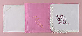 Choice Vintage Monogrammed Name Hankies for Rachel, Johanna, or Helen