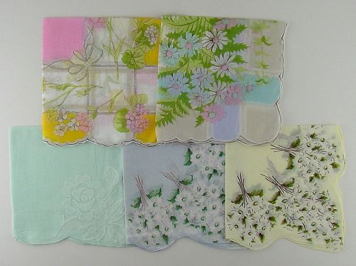 Lot of 5 Larger Size Vintage Floral Hankies Handkerchiefs