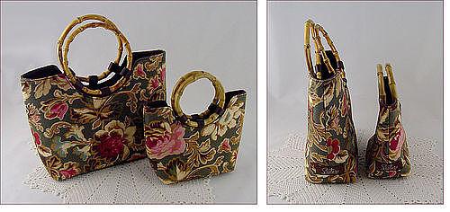 Set of Two (2) Sisters by Longaberger Majolica Garden Purses Handbags