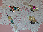 Lot of 4 Vintage Glass Bird Christmas Ornaments Clips