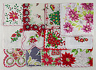One Dozen Vintage Not Perfect Christmas Hankies for Re-Purposing