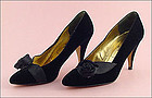 Black Dress Heels with Black Ribbon Rose Accent by Nina
