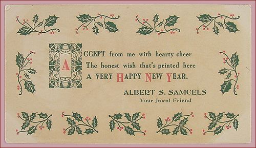Vintage Happy New Year Card from Jewel Tea Salesman / Representative