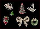 Lot of 7 Beautiful Christmas Pins