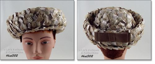TAUPE COLOR RAFFIA AND RIBBON VINTAGE HAT BY LENHAR�