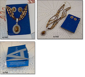 AVON TIGER�S EYE PENDANT AND EARRINGS