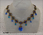 BEAUTIFUL BLUE RHINESTONE NECKLACE