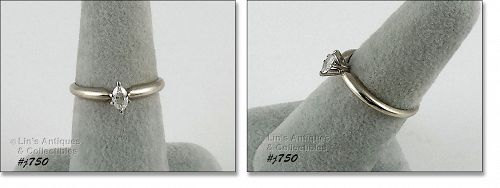 10K WHITE GOLD ¼ CT MARQUIS DIAMOND SOLITAIRE RING SIZE 7