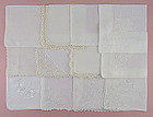 Lot of One Dozen  White / Wedding Vintage Hankies Handkerchiefs