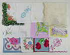 One Dozen Vintage Barely Imperfect  Hankies for RePurposing / Crafting