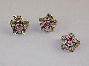 VINTAGE GUILLOCHE PINK ROSE WITH CLEAR RHINESTONES PIN AND EARRINGS