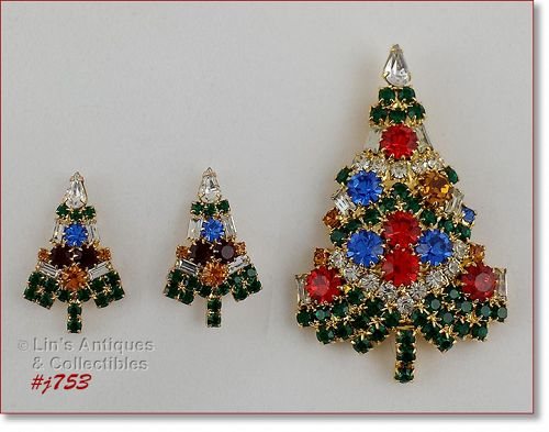 EISENBERG ICE CANDLE TREE PIN AND PIERCED EARRINGS
