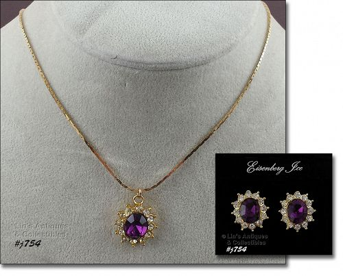 EISENBERG ICE FAUX AMETHYST PENDANT AND PIERCED EARRINGS