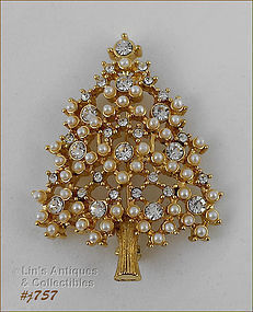 EISENBERG ICE RHINESTONES AND FAUX PEARLS CHRISTMAS TREE PIN