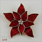 EISENBERG ICE RED POINSETTIA PIN WITH RHINESTONES CENTER