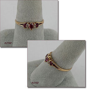10k YELLOW GOLD RUBY AND DIAMOND RING SIZE 8 ¼