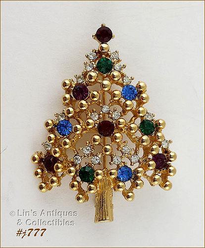 EISENBERG ICE � MULTI-COLOR RHINESTONES CHRISTMAS TREE PIN