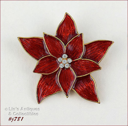 EISENBERG ICE � RED POINSETTIA SHAPED PIN