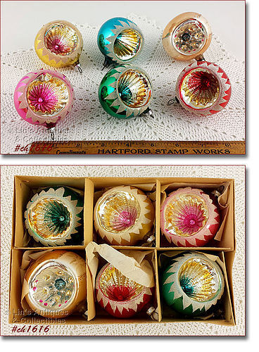 5 WEST GERMANY AND 1 POLAND GLASS ORNAMENT IN BOX